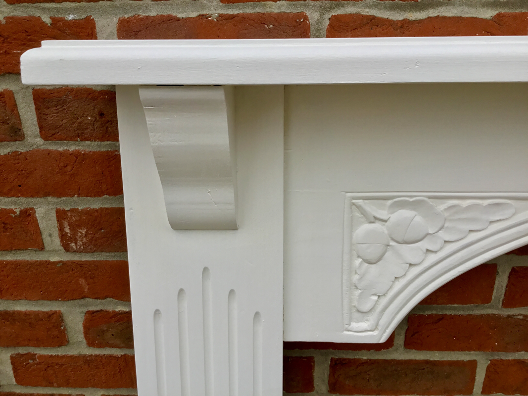 carved solid wooden painted fireplace surround